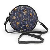 Azul marino y mostaza amarillo patrón floral mujer inclinada, personalizado solo bolso de hombro, bolso de la fecha bolsa de turismo
