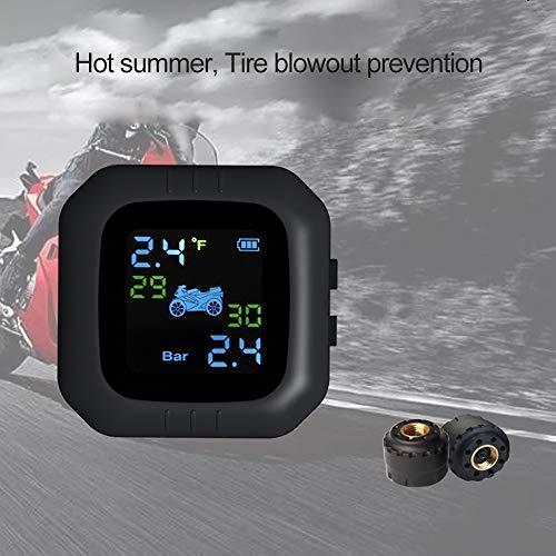 KKmoon Motorrad Wireless Sensor TPMS Reifendruckkontrollsystem Wasserdicht Monitor System mit 2 Externe Sensor LCD Display Alarmfunktion Temperatur Anzeige für Motorrad Moto Werkzeug