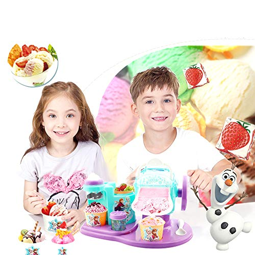 Kids Ice Cream Maker, Eat Edible Machine Set , Ice Shaver, Ice Cone Machine, Girl Kitchen Gift Toys, Portable Manual Hand Crank Ice Crusher, Fruit Smoothie Machine with Ice Cream Cup & Spoon