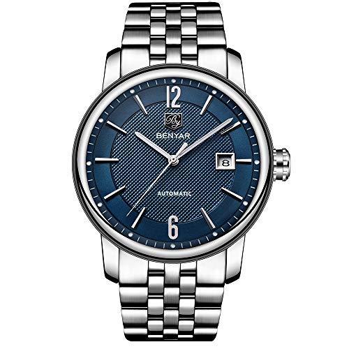 Benyar - Reloj de Pulsera para Hombre (analógico, Pantalla clásica y Correa de Acero...