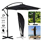 Rameng Parasol déporté inclinable Crème, Parasol Suspendu en Polyester et Structure métallique Parasol extérieur Banana Umbrella Cover Cantilever Garden Patio Shield Waterproof (280cm x 30cm)