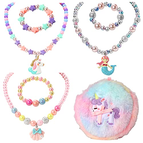 PinkSheep Kids Jewelry for Girls 3 Sets Toddler Kids Necklace Bracelet Purse for Girls Play Jewelry for Little Girls Kids Dress Up Costume Jewelry for Kids Girls Accessories