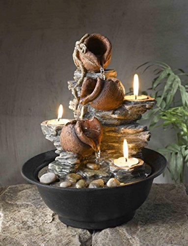CC Home Furnishings 11' Mini Pitchers and Rocks Indoor Table Top Water Fountain with Tea Light Candles