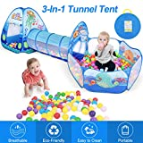ZNCMRR Kids Play Tunnel Tent, Crawl Tunnel & Ball Pit with Basketball Hoop