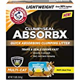 Arm & Hammer for Pets Clump & Seal AbsorbX Clumping Litter, MultiCat, 15 lb (Works Like 30 Pounds), Gray