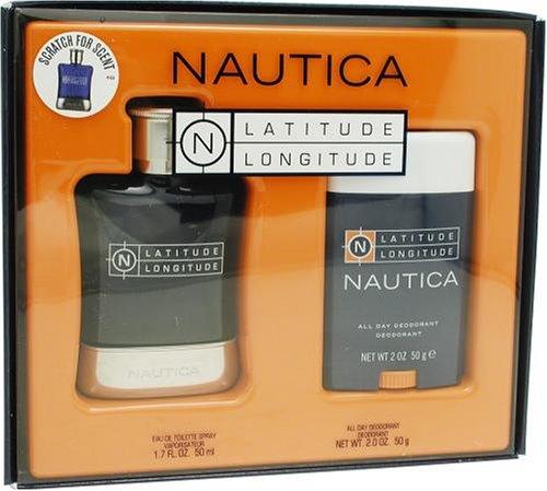 Latitude Longitude By Nautica For Men. Set-edt Spray 1.7 Ounces & All Day Deodorant Stick 2 Ounces