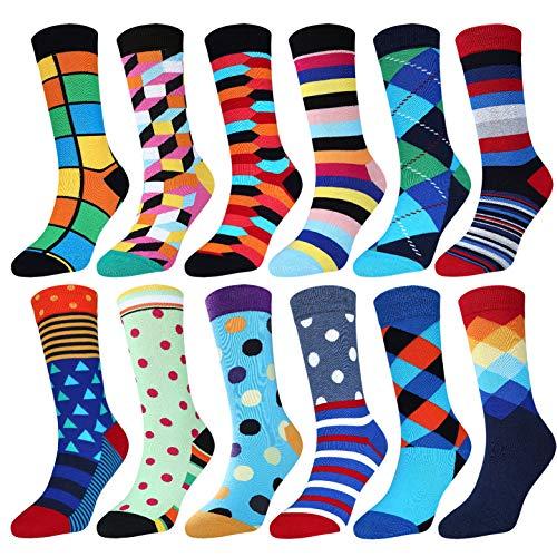 Jielucix Bunte Socken Damen Lustige Baumwolle Farbige Anzugsocken für Frauen 12er Pack,Bunt, Gr.39-42