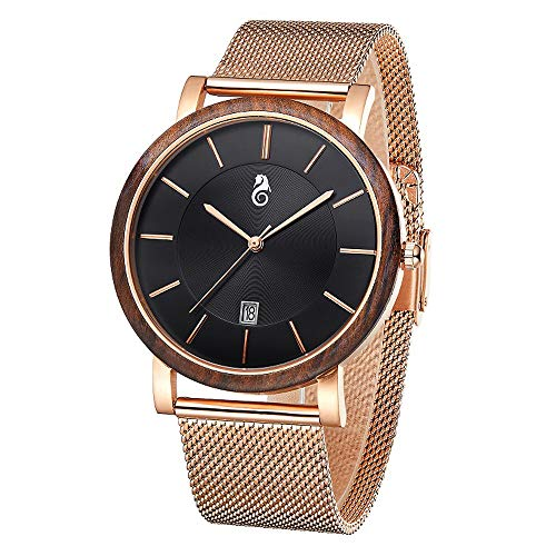 TJW Wood Wrist Watch | Classic Collection Analog Watch | Wood and Stainless Steel Watch | Wood and Leather Watch (Black/Zebra/Golden Steel)