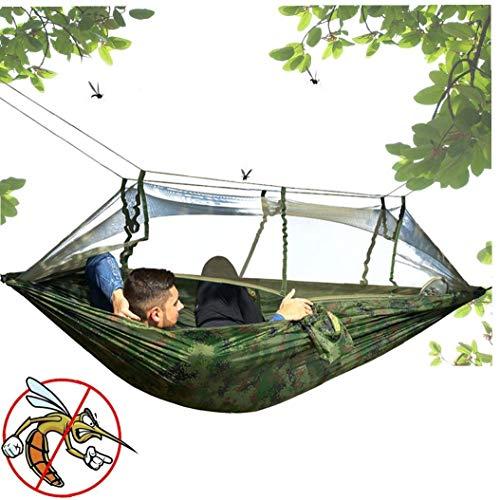 xiaocheng Hamaca con Mosquitera Hamaca portátil Ligero 260 * 140CM Viaje al Aire Libre Hamacas Capacidad de Carga de hasta 300 kg de excursión Que acampa del Camuflaje Práctico portátil Living
