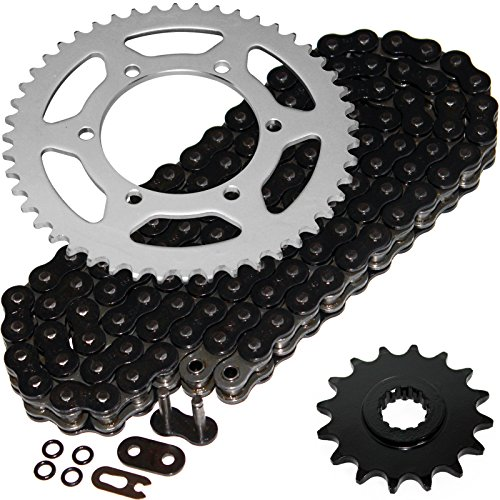 Caltric Black O-Ring Drive Chain & Sprockets Kit Compatible with Yamaha R6 Yzfr6 Yzf-R6 2003-2005