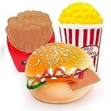 Squishy Set ,MMTX 3 Pezzi Antistress Squishy Toys, Carino Hamburger, Popcorn, Patatine Fritte per regalini festa compleanno.