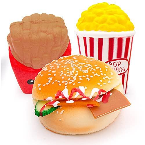 Squishy Set,MMTX 3 Pièces Kawaii Squeeze Squishy Food Pack:Burger,Frites,Pop Corn pour Enfants Adultes Soulage Stress Anxiété Décoration.