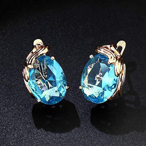 Ningz0l Oorbellen voor dames, oorsieraden, Europese en Amerikaanse manier eenvoudige hypoallergeen goud vergulde zirkonia korte geometrische oorbellen vrouwelijk blauw