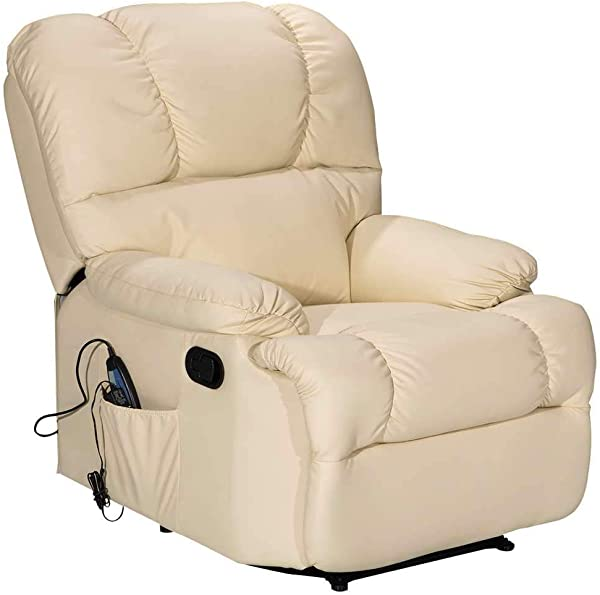 Massage Recliner Chair With Heating And Vibrating WATERJOY Full Body Leather Massage Chair With Control Black Sofa Chair Recliner For Living Room Beige