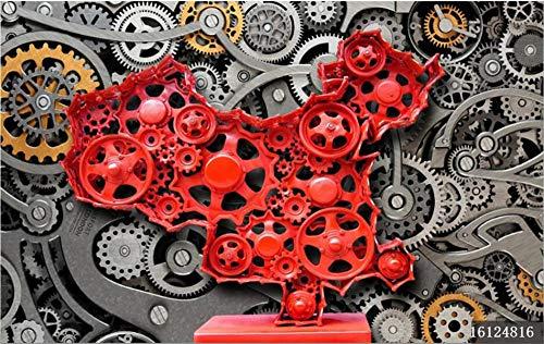 MINCOCO Retro Nostalgische Mechanische Gear Rood China Map Mural Wall Paper 3D Bar KTV Industriële Wind Decor Wallpaper 3D 200x140cm(78.7x55.1inches)