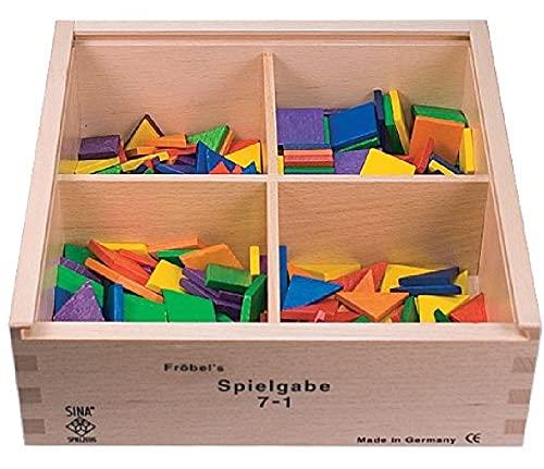 SINA Gabe 7-1 Fröbel Spiel 25mm Quadrate Dreiecke Rauten NEU