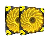 APEVIA AF212L-SYL 120mm Yellow LED Ultra Silent Case Fan w/ 15 Yellow LEDs & Anti-Vibration Rubber Pads (2-pk)