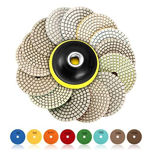 SPTA 15pcs Diamant nass Polierscheiben Set, 4-Zoll-Pads für Granit Stein Beton Marmor Bodenschleifer oder Polierer, 50 # -6000 # mit Haken & Loop Backing Halter Disc