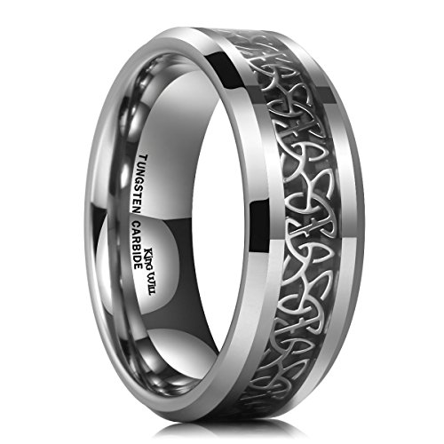 King Will 8mm Tungsten Carbide Ring Wedding Band for Men Inlay Celtic Knot Engagement Ring Comfort Fit(9)