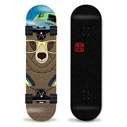 Skateboards, compleet, 7 lagen, esdoorn, 31 x 8 inch, houten plank met 4 wielen, trick action skateboard, professioneel skateboard, dubbele kick voor volwassenen en adolescenten