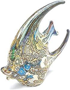 Vinciprova Animal de cristal de Murano Murrina Millefiori y oro cerezo, fabricado en Italia (pez luna)