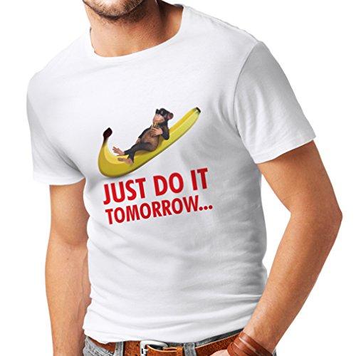 lepni.me Camisetas Hombre Sólo hazlo mañana! Chiste Divertido, Eslogan de Parodia, Regalo de Humor (Large Blanco Multicolor)