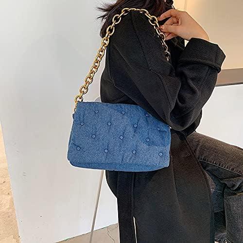 malimaha Shoulder Bags Women's Shoulder Bags 2021 Denim Quailty Thick Chain Design Purses and Handbag Female Retro Clutch Bags Ladies Armpit Hobos Bag (Color : PU Black, Size : 31x8x20cm)