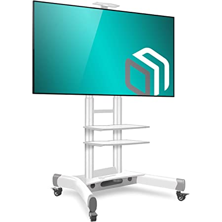 "ONKRON Mobile TV Stand TV Cart with Wheels & 2 AV Shelves for 40"" - 70 inch LCD LED OLED Flat Panel Plasma Screens up to 100 lbs White TS1552"