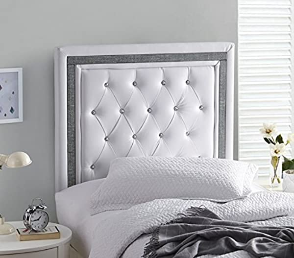 Tavira Allure College Dorm Headboard White With Black Crystal Border With Legs