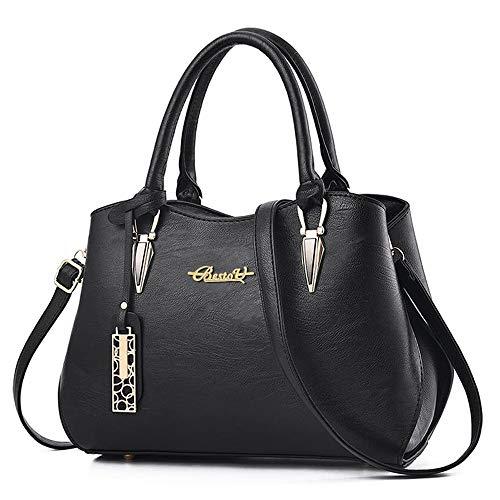 BestoU Damen Handtasche Schwarz Leder groß Damen Schultertasche Frauen Umhängetasche (Schwarz)