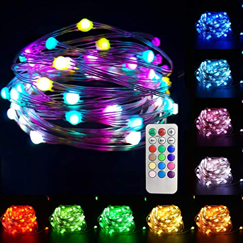 Cadena de luces de 10 m con 100 luces LED, 12 modos de alambre para caza (USB & mando a distancia & temporizador), resistente al agua, luces decorativas para exteriores, Navidad, jardín, fiesta