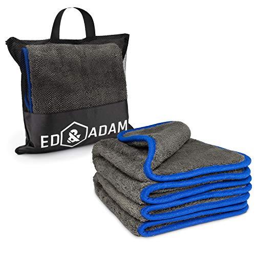 ED&ADAM 2X XXL Lackschonende Mikrofasertücher zur professionellen Autopflege, inklusive Aufbewahrungstasche, Extra großes und saugstarkes Motorrad und Auto Trockentuch Dank 1200 GSM - 42x48cm