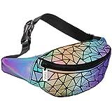 tikea borsa geometrica luminosa olografica da donna, marsupio alla moda in pelle sintetica, effetto riflettente, unisex, per sport, viaggi, ecc.