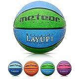meteor Balón Baloncesto Talla 1 Pelota Basketball Bebe Ball Infantil Niño Balon Basquet - Baloncesto Ideal para los niños y jouvenes para Entrenar y Jugar - Tamaño 1 Layup (#1, Azul/Verde)
