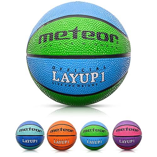 Balón Baloncesto Talla 1 Pelota Basketball Bebe Ball Infantil Niño Balon Basquet - Baloncesto Ideal para los niños y jouvenes para Entrenar y Jugar - Tamaño 1 Layup (#1, Azul/Verde)