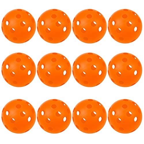 Faxco 12 orangefarbene Kunststoff-Baseballbälle für Sport, hohle Bälle, Kunststoff-Softball-Set für Training, Golf, Indoor-Übungsbälle.