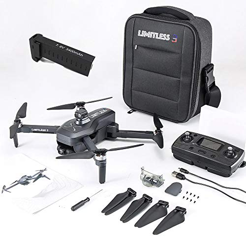 Drone X Pro LIMITLESS 3 GPS 4K UHD Camera Drone for Adults with EVO Obstacle Avoidance, 3-Axis Gimbal, Auto Return Home, Follow Me, Long Flight Time, Long Range, 5G WiFi FPV Live Video (With Case)