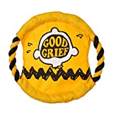 Peanuts for Pets Good Grief Rope Frisbee Dog Toy   Officially Licensed Dog Rope Toy Frisbee   Yellow Dog Frisbee Rope Dog Toy with Good Grief, one Size (FF13353)