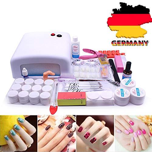 RANZIX Nagelset Nail Art Farbe Nagel Starterkit Nageldesign-Sets mit Nailart, 36w UV Lampe und UV Gel