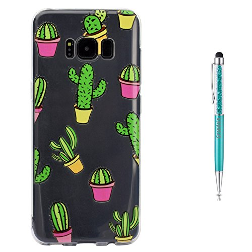 Grandoin Galaxy S8 Plus HandyHülle, Süßes Muster Transparent Ultra Dünn Weiche TPU Silikon Schutz Handy Hülle Handytasche Etui Schale Schutzhülle Case Cover für Samsung Galaxy S8 Plus - Kaktus