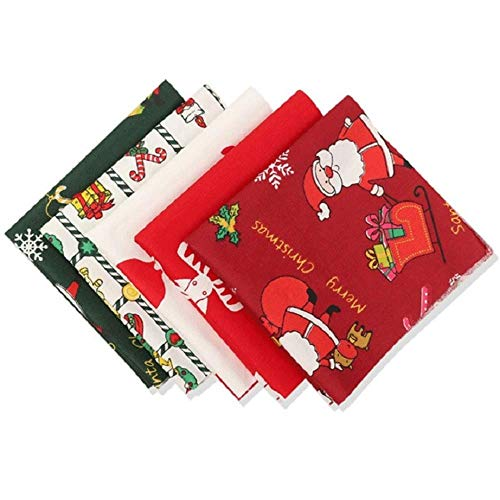 5 Pieces Christmas Fabric Christmas Cotton Fabric Bundles 18 x 22 Inch, Multi-Color Fabric Patchwork Christmas Tree Fat Quarters Precut Santa Claus Fabric Scraps for Christmas DIY Quilting.