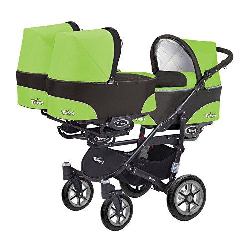 Kinderwagen für Drillinge 3 Gondeln 3 Sportsitze Trippy Kinderwagen 2in1 schwarzer Rahmen (schwarz grün 06)