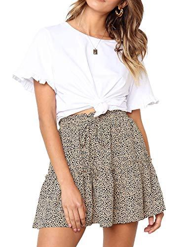 Relipop Women's Flared Short Skirt Polka Dot Pleated Mini Skater Skirt with Drawstring (T23, Large)