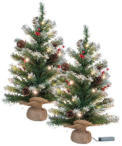 Britesta Tischweihnachtsbaum: 2er-Set Deko-Weihnachtsbäume mit 30 LEDs, Zapfen & Eibenbeeren, 60 cm (Künstlicher Weihnachtsbaum)