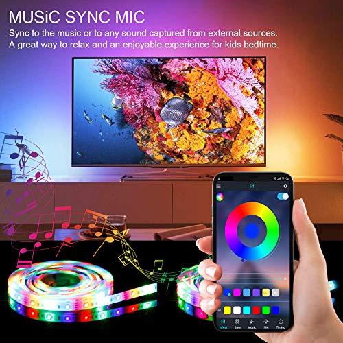 2.5M LED TV Hintergrundbeleuchtung, APP-Steuerung synchron zur Musik für Android iOS, Vorspannungs beleuchtung, RGB wasserdicht IP65, für 40-65 Zoll HDTV, TV-Bildschirm, PC, Spiegel Usw.