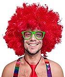 280g XXL Peluca Afro Peluca rizada Cabeza Negro Afro Peluca rizada Peluca del Carnaval Negro, Blanco, marrón, Rojo, Turquesa, Verde, Rosa (Rojo)