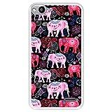 Hapdey silikon Hülle für [ Vodafone Smart Ultra 6 ] Design [ Helles Muster von rosa & roten schönen Elefanten ] Transparenz Flexibles TPU