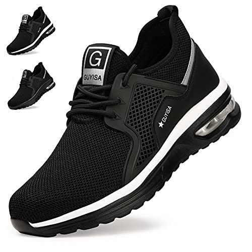 Zapatos de Seguridad Hombre Mujer Zapatillas de Trabajo con Punta de Acero Ligeras Transpirables Calzado de Seguridad con Colchón de Aire Calzado de Industrial y Deportivos Negro-Blanco A EU 43