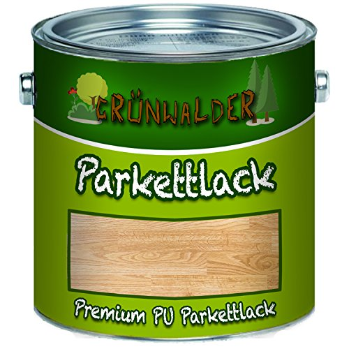 Grünwalder PREMIUM farbloser PARKETTLACK glänzend seidenmatt Holzversiegelung Trppenlack Parkettpflege Parkettöl (10 L, Glänzend)