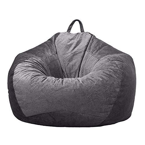 Jtweb, klassischer Sitzsack, Sofabezug, ohne Füllung, weicher Samt, für Sofas und Erwachsene, dunkelgrau, L:90*110cm